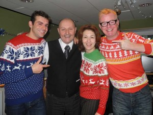 Vassos, David, Lynne and Chris after the Chris Evans Breakfast Show on 17.12.12