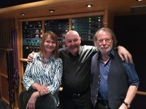 David Morris with ABBA's Benny Andersson and Anne Dudley